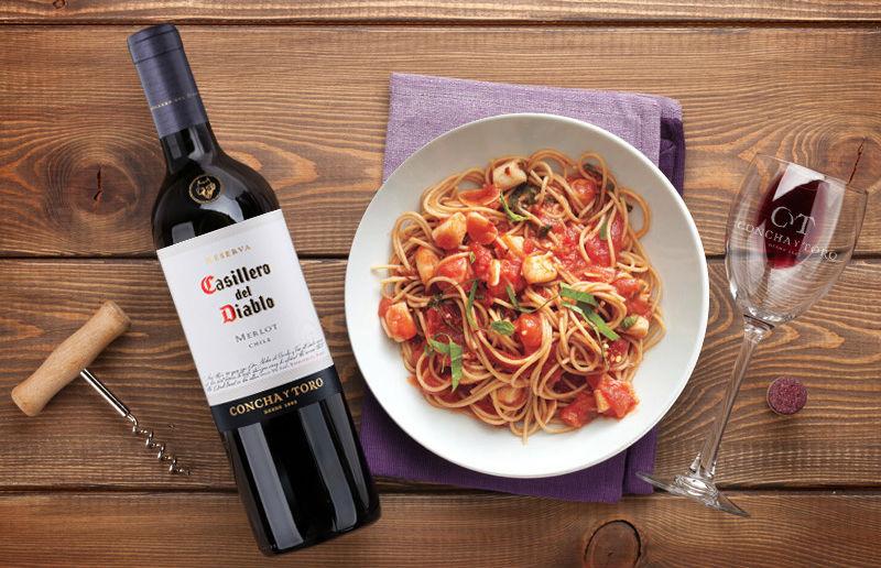 Casillero Merlot pasta