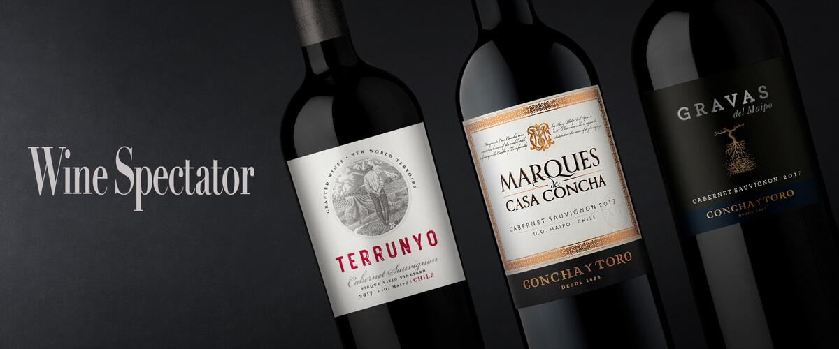 Los Cabernet Sauvignon de Concha y Toro recibieron excelentes puntajes en Wine Spectator